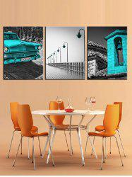 Car and Builds Print Split Canvas Paintings -
