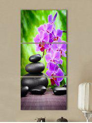 Flower and Stone Print Split Canvas Paintings -
