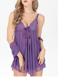 Lace Panel Cami Babydoll with Bowknot -