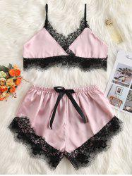 Bowknot Lace Trim Pajama Set -