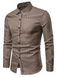 Checked Print Bling Button Up Long Sleeve Shirt -