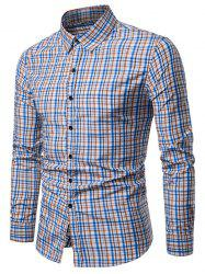 Checked Print Turndown Collar Button Up Shirt -