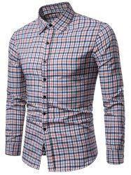 Long Sleeve Plaid Printed Button Up Casual Shirt -