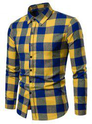 Contrast Checked Print Button Up Long Sleeve Shirt -