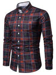 Turn-down Collar Grid Print Casual Shirt -