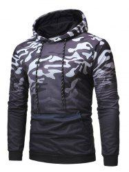 Camo Print Loose Pouch Pocket Hoodie -