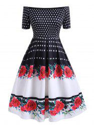 Plus Size Polka Dot Flower Off Shoulder Vintage Dress -