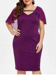 Cut Out Plus Size Ruffle Trim Bodycon Dress -