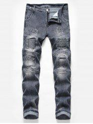 Casual Pleated Patchwork Washed Biker Jeans -