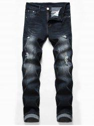 Casual Zipper Fly Ripped Fade Jeans -