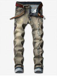 Tribal Man Head Embroidery Ripped Vintage Jeans -