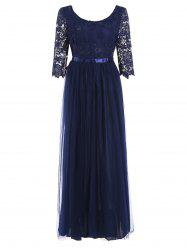 Lace Panel Half Sleeve Floor Length Dress -