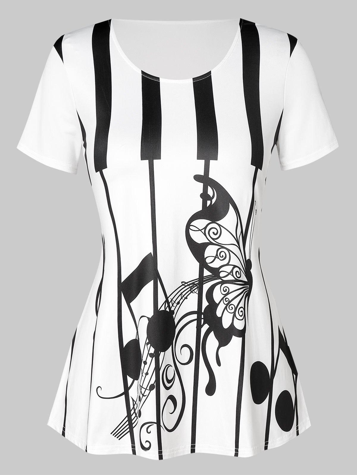 Plus Size Music Note and Butterfly Print T-shirt