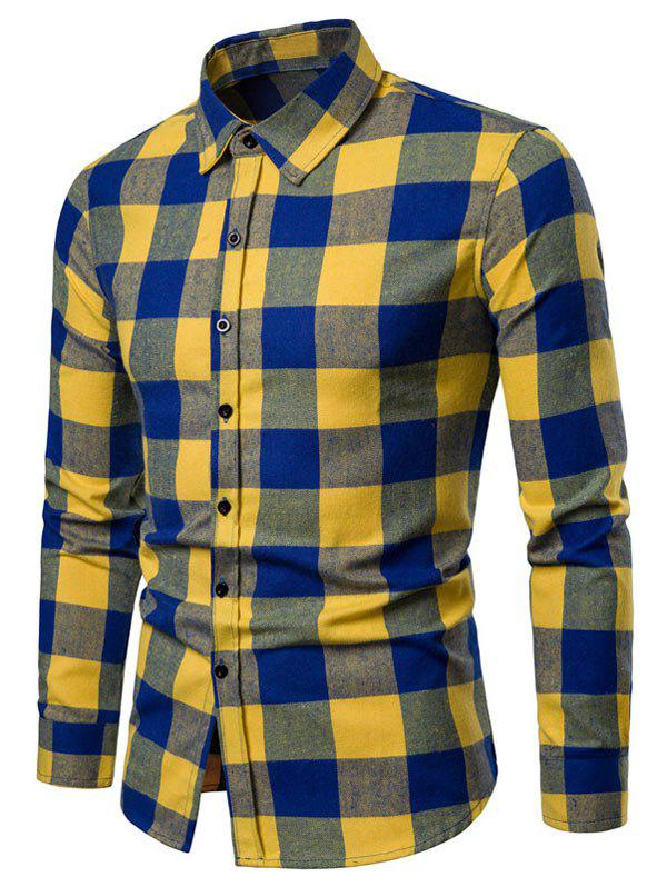 Shops Contrast Checked Print Button Up Long Sleeve Shirt