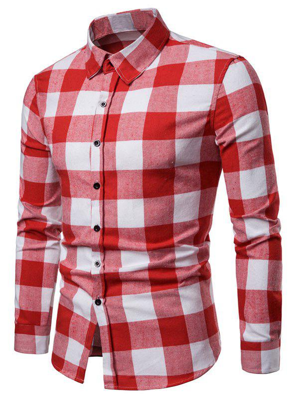 Buy Contrast Checked Print Button Up Long Sleeve Shirt