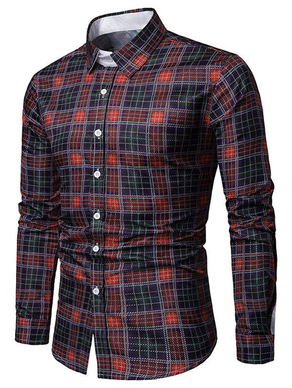 Discount Turn-down Collar Grid Print Casual Shirt