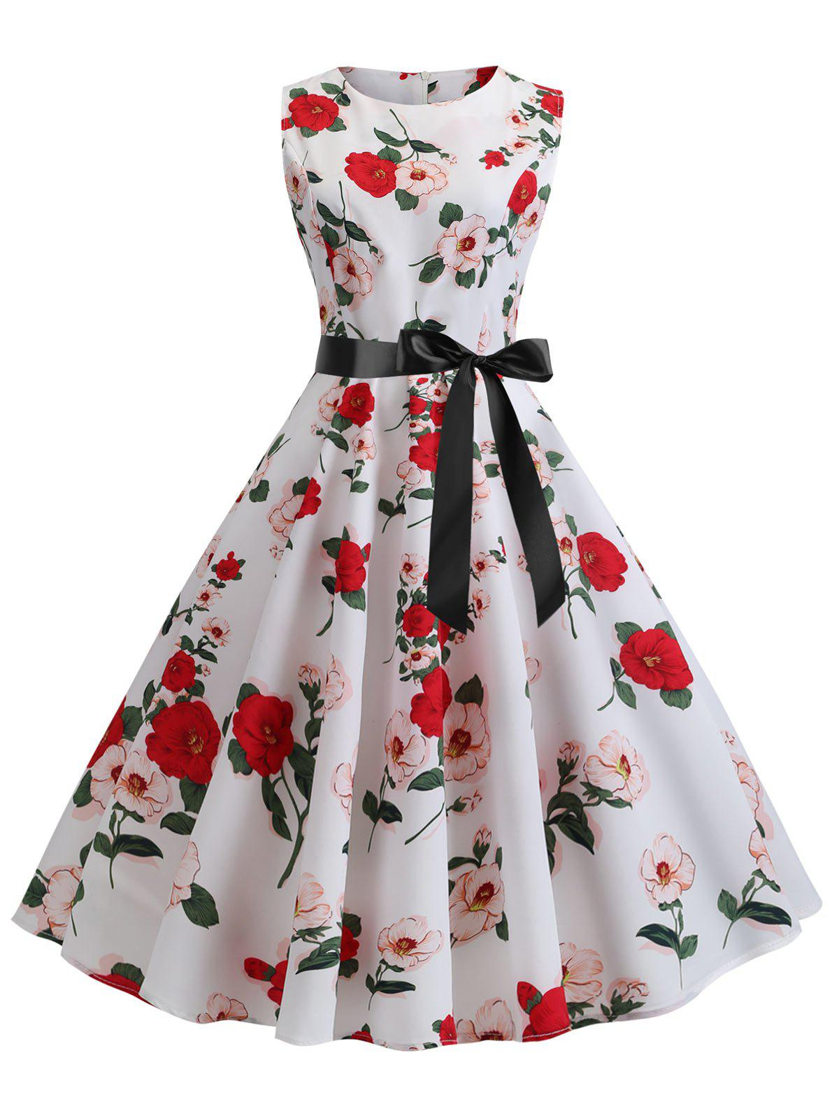Online Floral Print A Line Dress with Belt