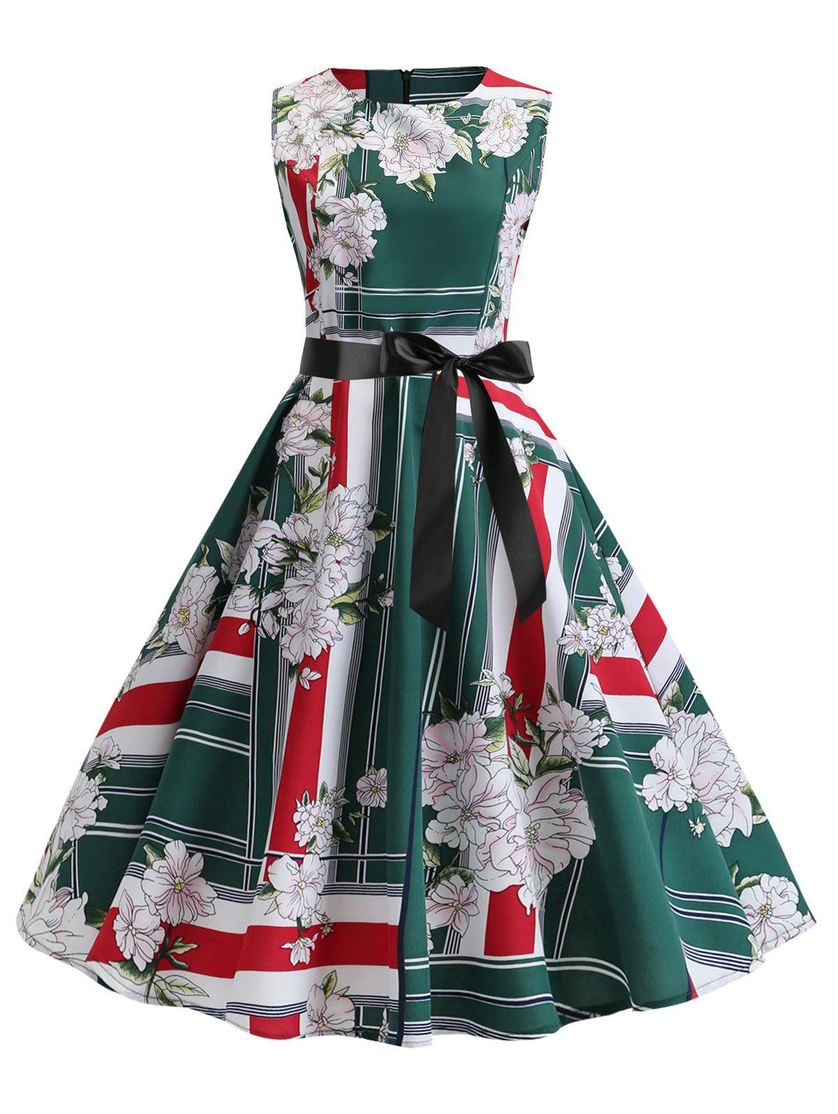 Floral Striped A Line Dress avec ceinture