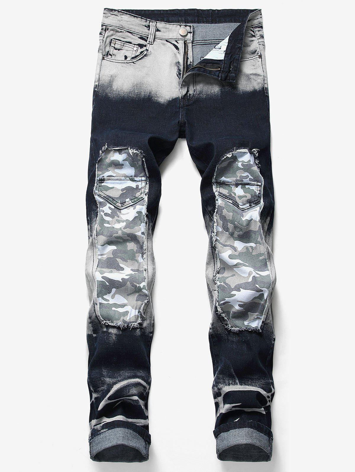 Best Camo Patchwork Soft Casual Jeans