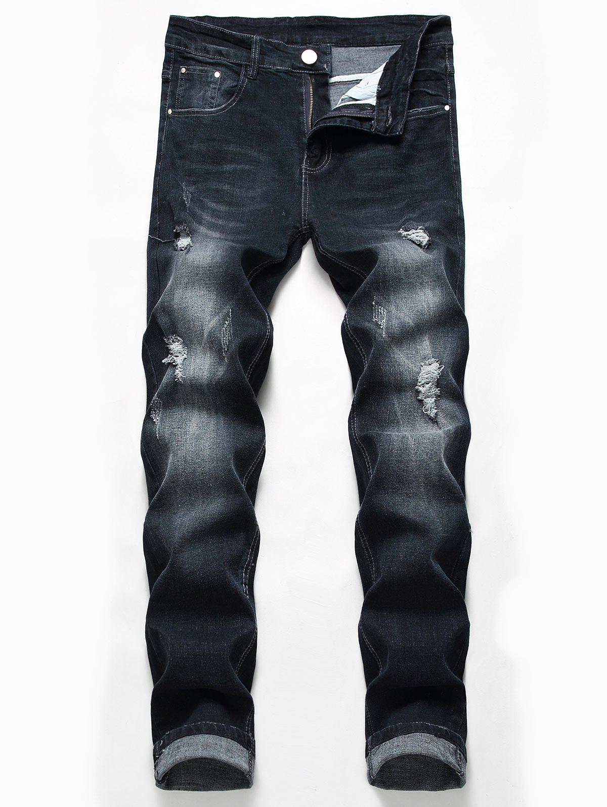 Casual Zipper Fly Ripped Fade Jeans