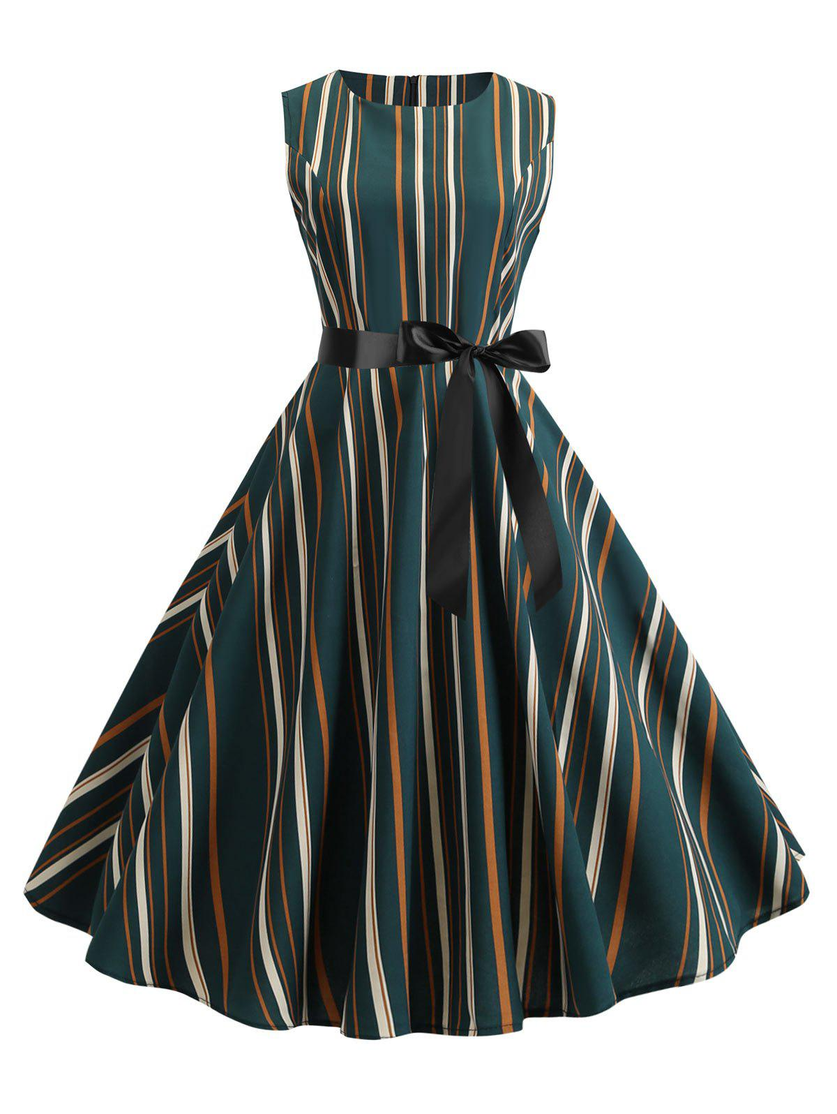 New Vertical Striped Sleeveless A Line Dress