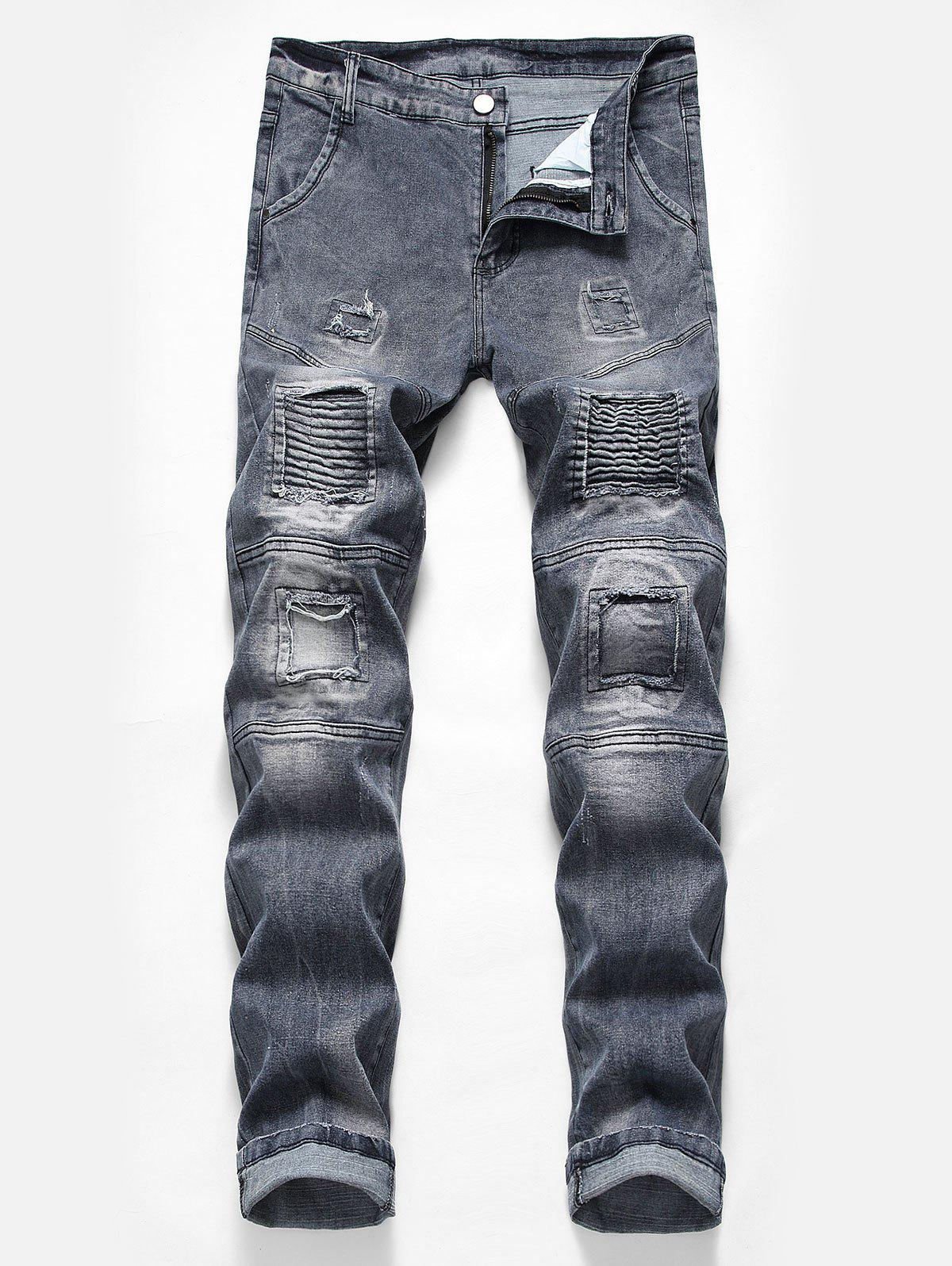 Trendy Casual Pleated Patchwork Washed Biker Jeans