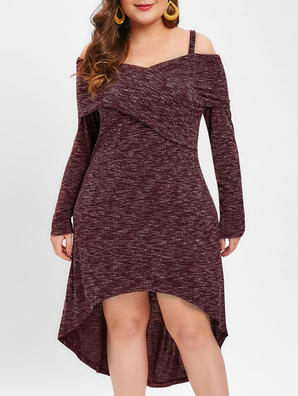 Store Plus Size Marled Dip Hem Dress