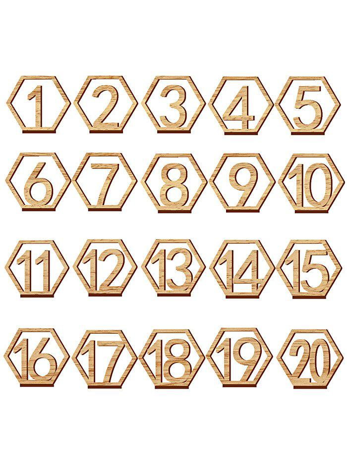 Fancy 20 Pcs Wood Table Numbers