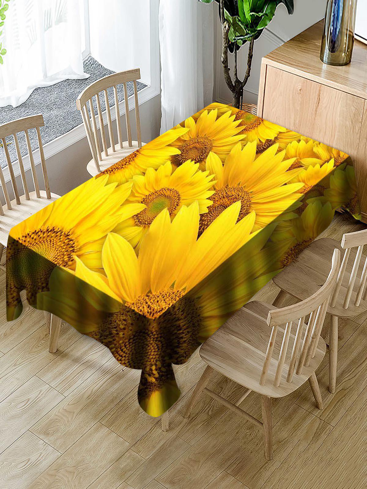 Sale Sunflowers Print Waterproof Decorations Table Cloth