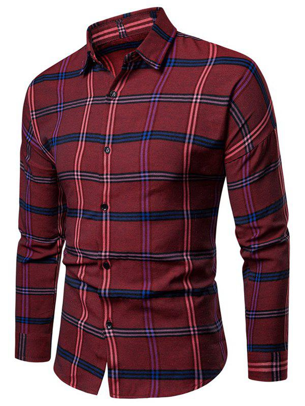 Shop Casual Button Up Plaid Print Long Sleeve Shirt