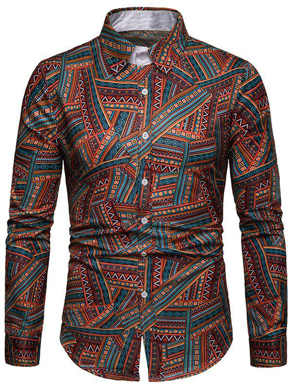 Hot EthnicTribal Print Long Sleeves Casual Shirt