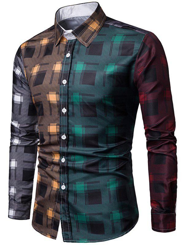 Outfit Color Block Plaid Print Long Sleeves Shirt