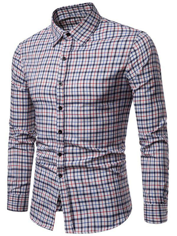 Online Long Sleeve Plaid Printed Button Up Casual Shirt