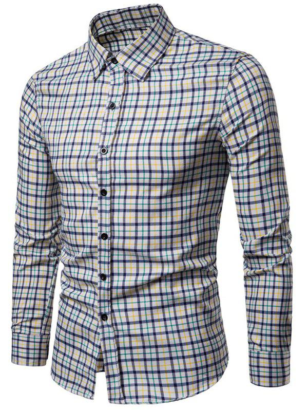 Affordable Long Sleeve Plaid Printed Button Up Casual Shirt