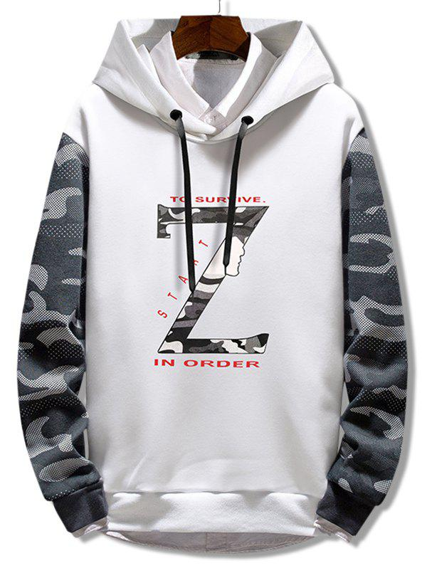 Fashion Camo Letter Print Fleece Hoodie