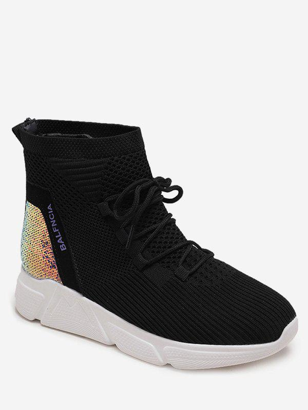 Outfits Sequined Panel Lacing Sneaker Boots