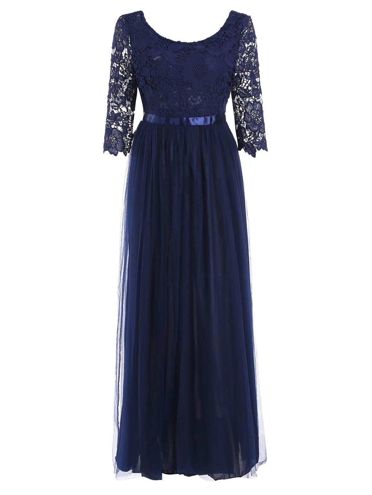 Chic Lace Panel Half Sleeve Floor Length Dress