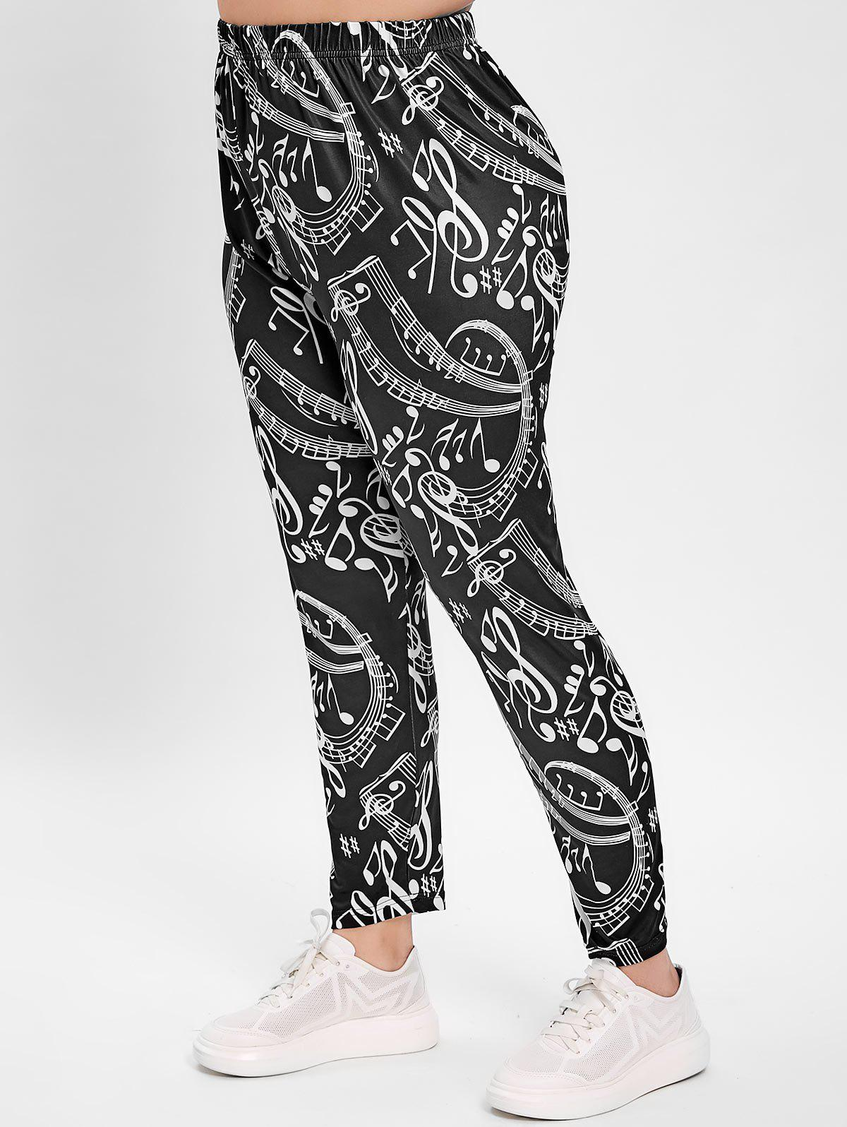 Best Plus Size Musical Notes Print Leggings