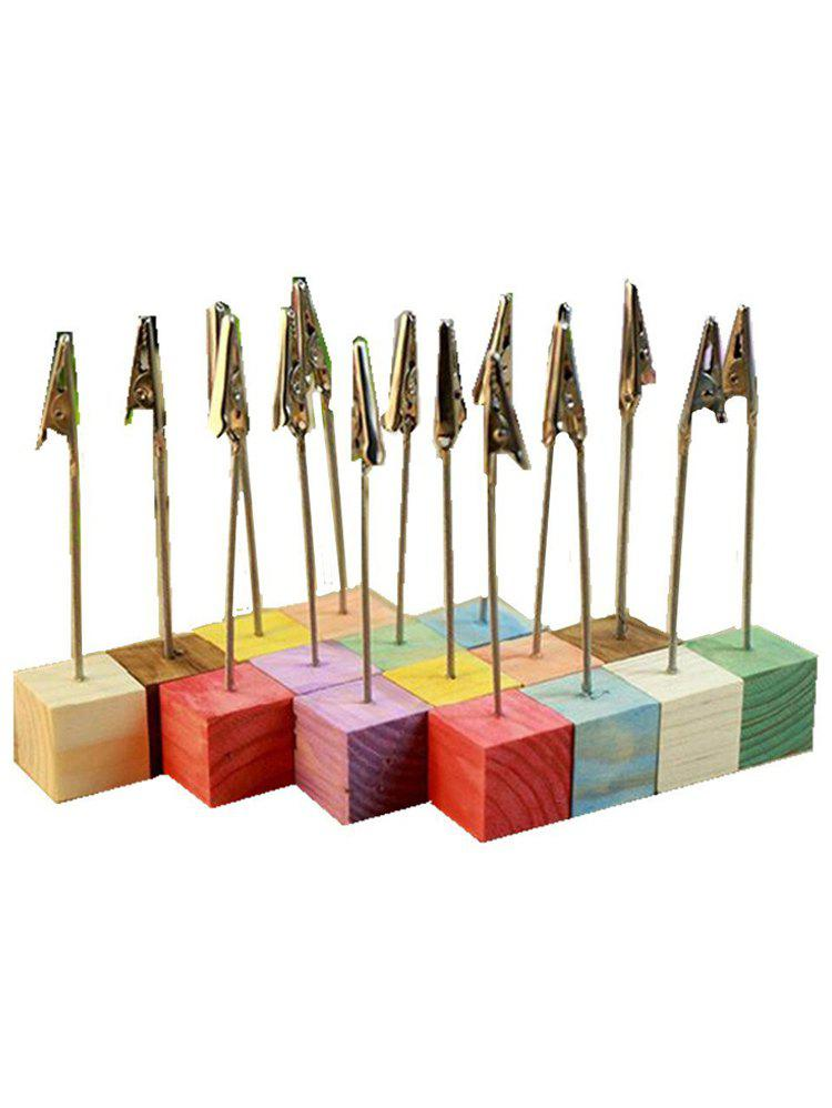 Fashion 10 Pcs Colorful Wood Base Clip Table Number Holders