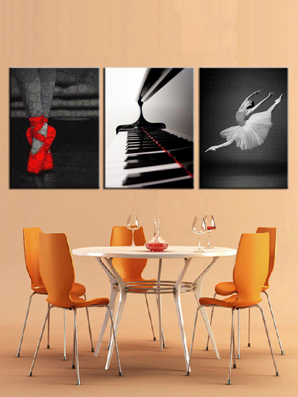 Fancy Piano and Ballet Print Split Canvas Paintings