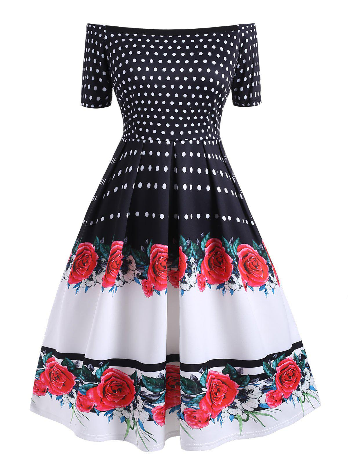 Affordable Plus Size Polka Dot Flower Off Shoulder Vintage Dress