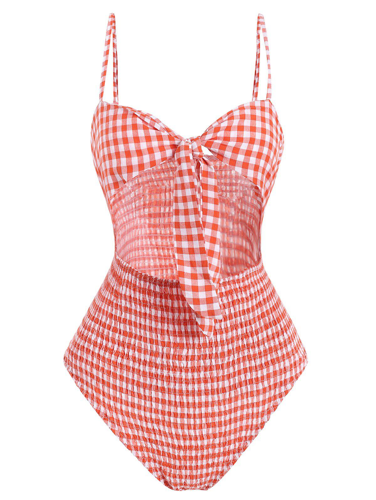 Trendy Tie Front Gingham Shirred Bodysuit