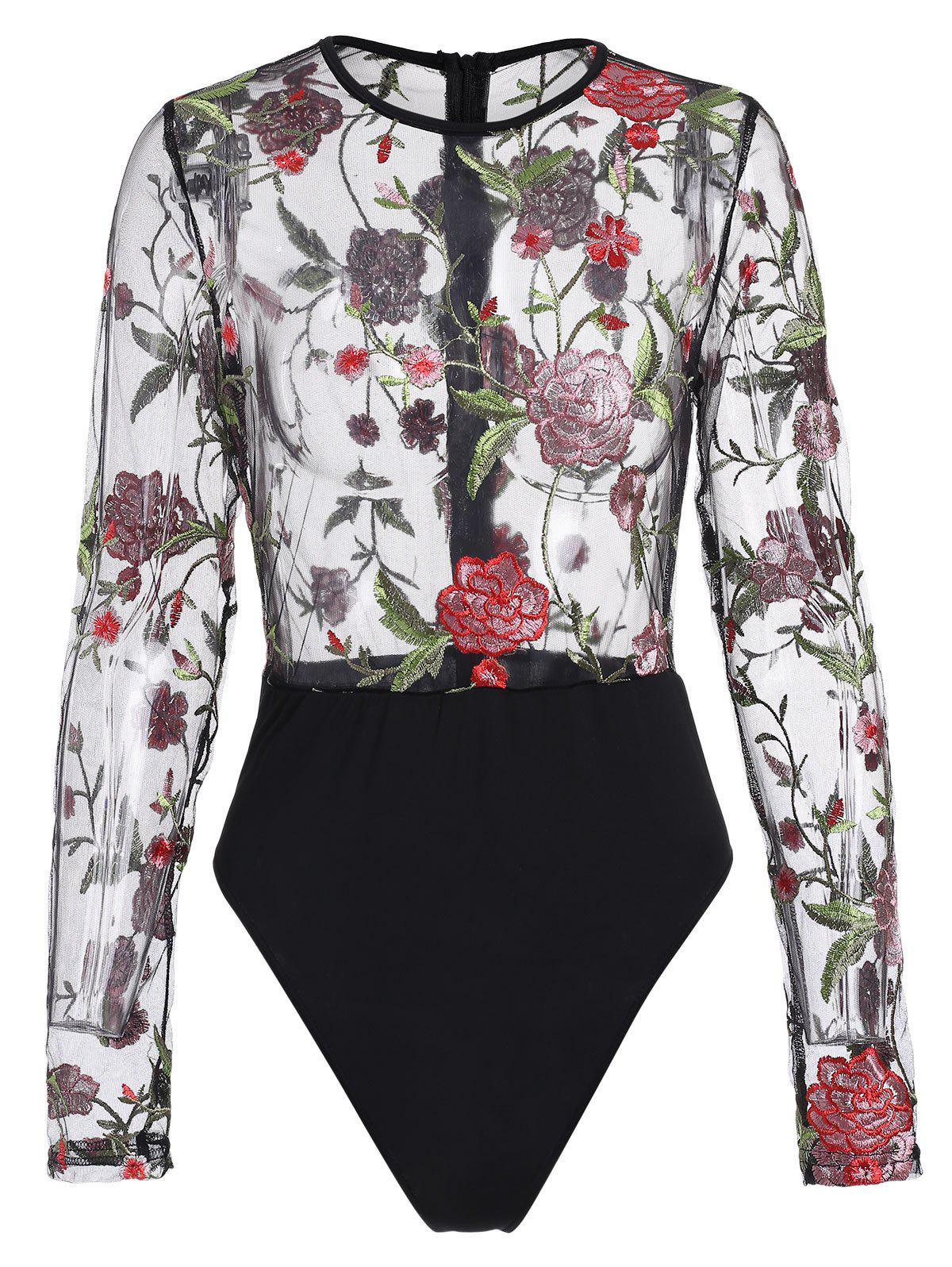 Cheap Floral Embroidered Mesh Bodysuit