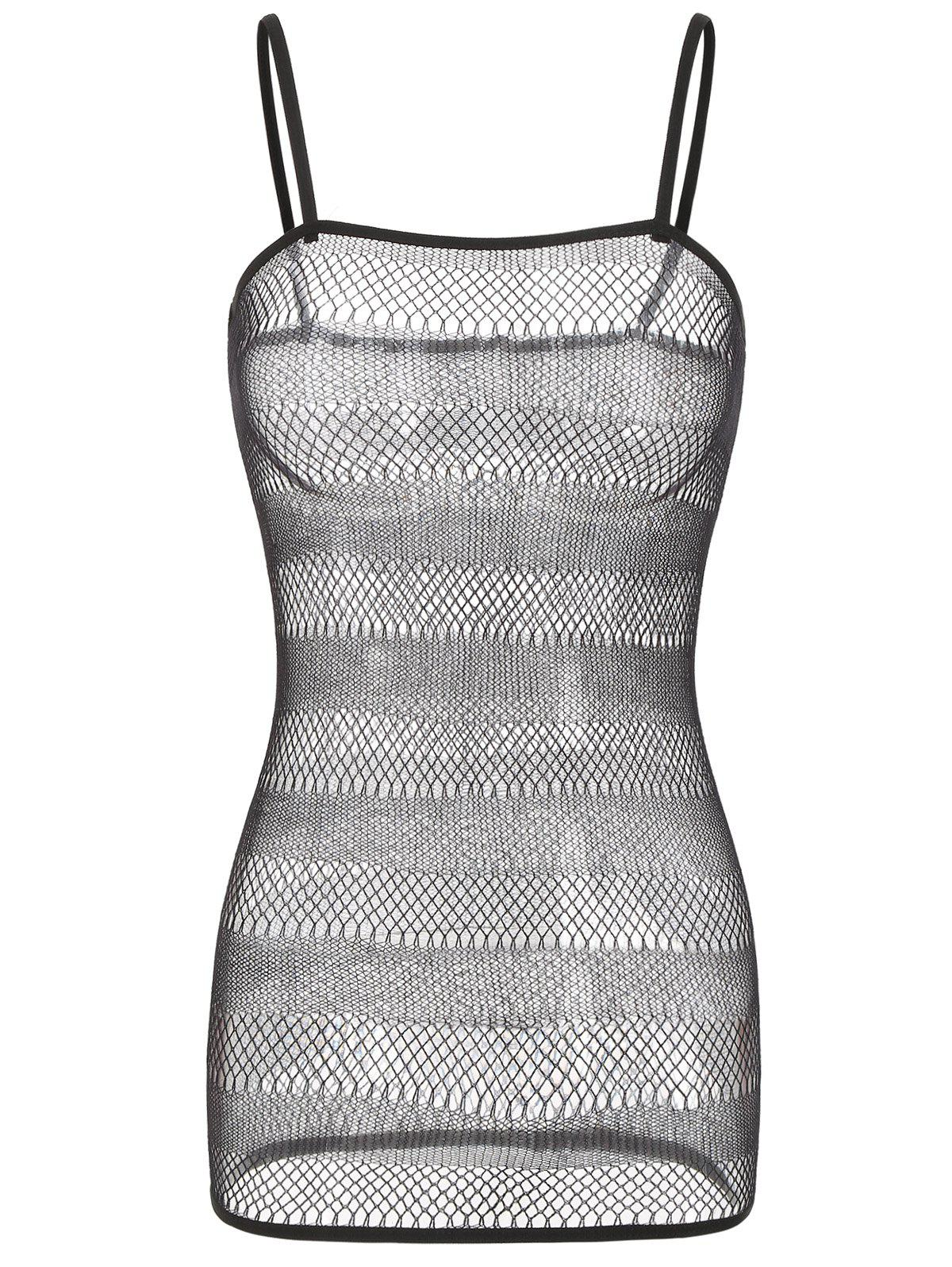 Outfit See Through Striped Fishnet Babydoll Dress