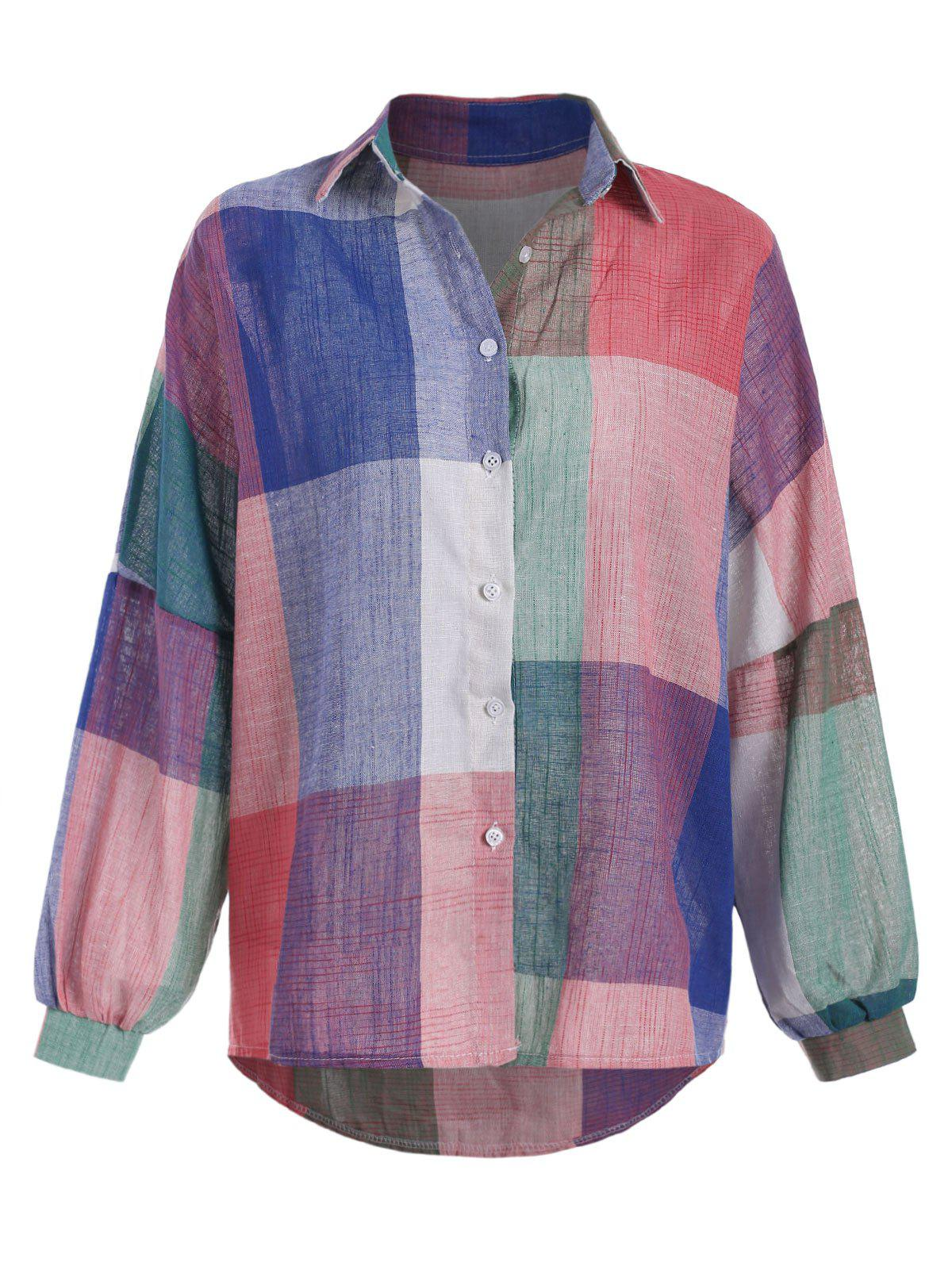 Hot Checked Oversized Colorful Woven Shirt