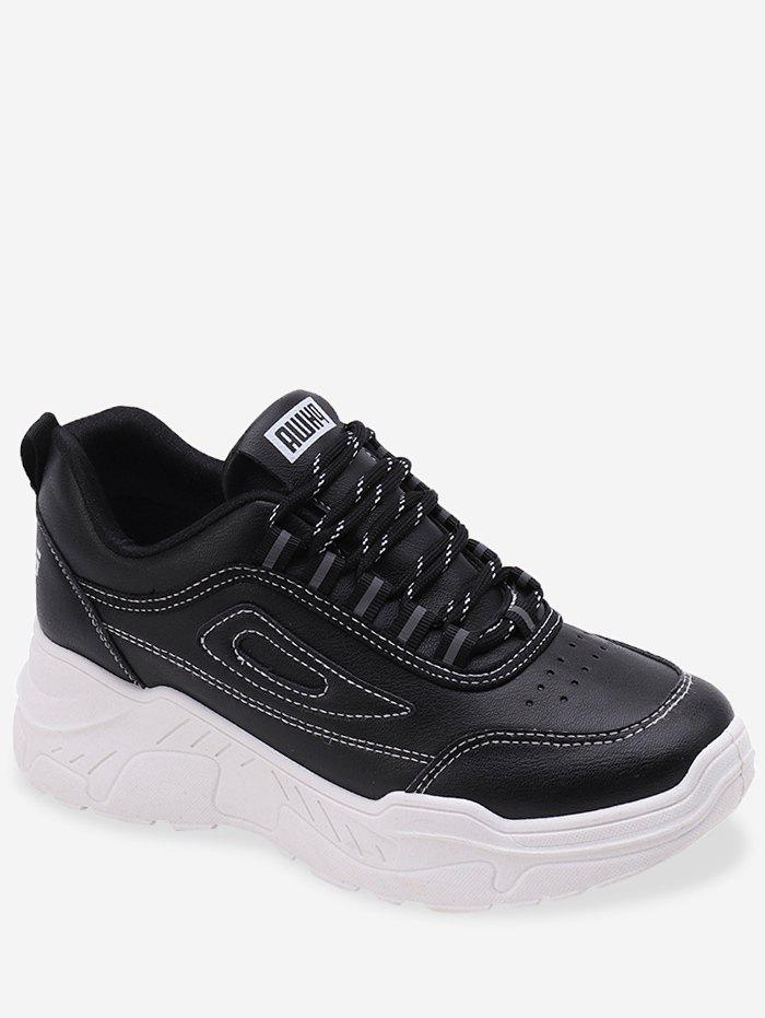 Store Patchwork Lace Up PU Sports Shoes