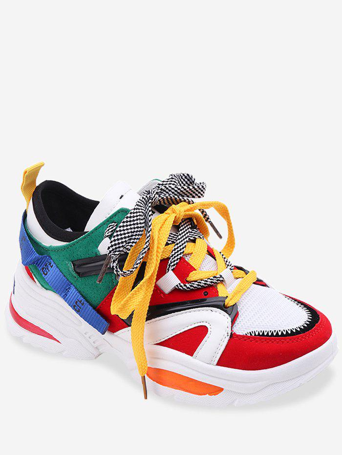 Cheap Color Block Patchwork Lace Up Sneakers