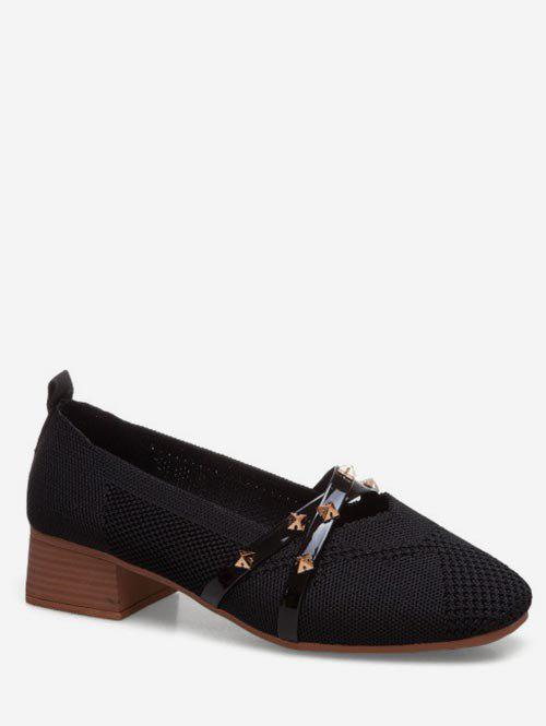Chic Studded Strap Slip On Shoes