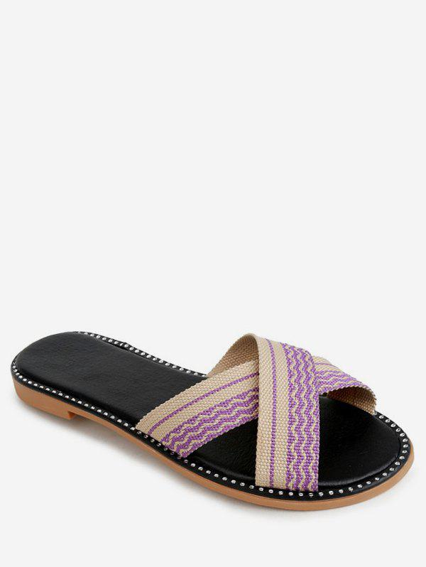 Store Striped Crisscross Strap Slippers