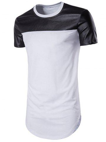 Faux Leather Panel Round Hem Tee
